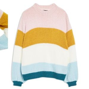 Topshop Colorblock Knit Pullover